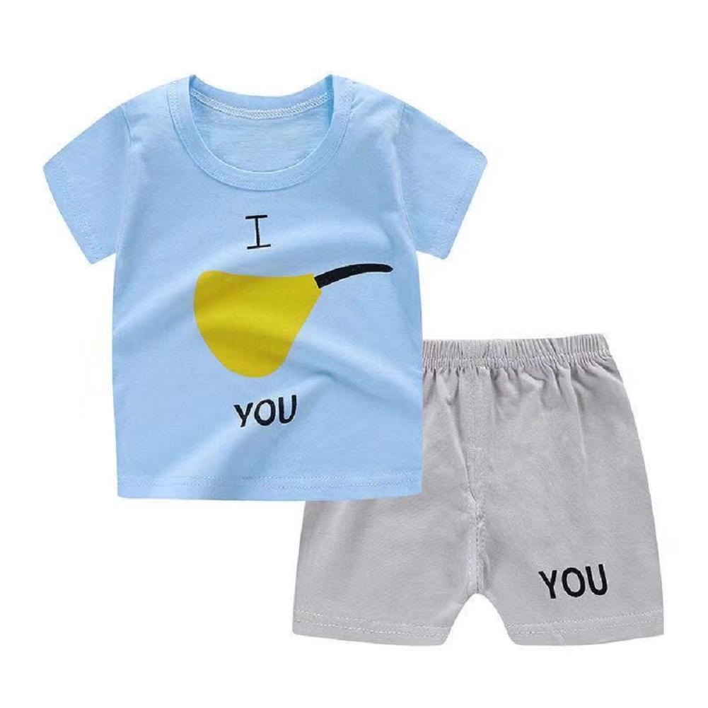 2Pcs/set Baby Suit Cotton T-shirt + Shorts Cartoon Short Sleeve for 6 Months-4 Years Kids Pear_90 (60 yards)