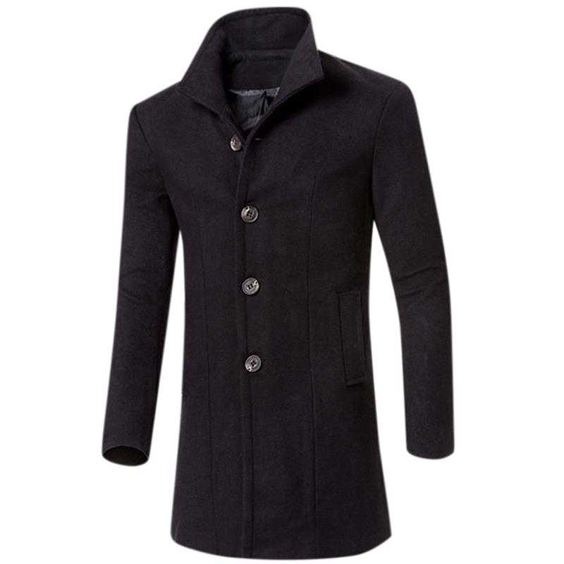 Men Simple Casual Outdoor Thicken Coat Slim Warm Solid Color Jacket Tops black_XL