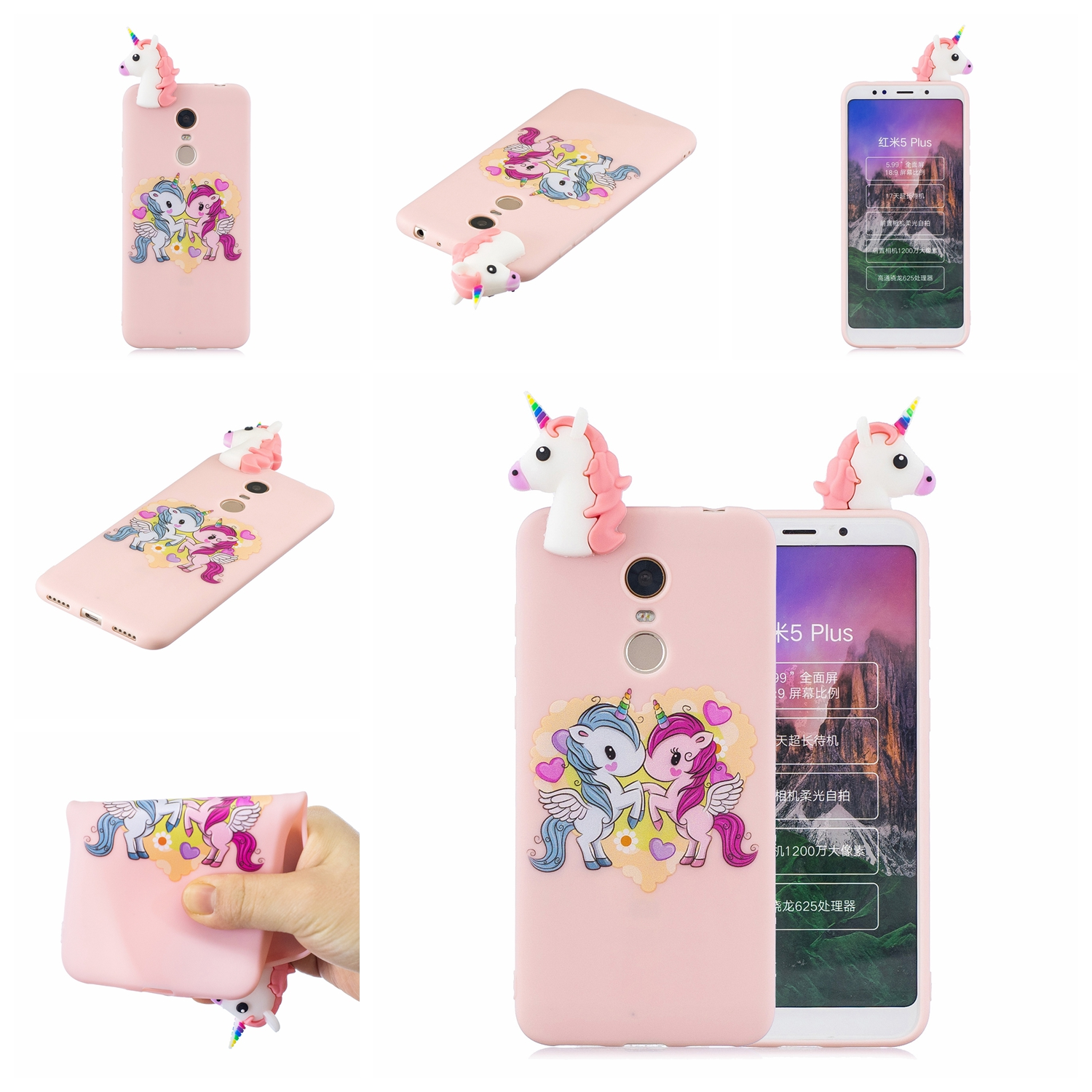 For XIAOMI Redmi 5 plus 3D Cartoon Lovely Coloured Painted Soft TPU Back Cover Non-slip Shockproof Full Protective Case Light pink