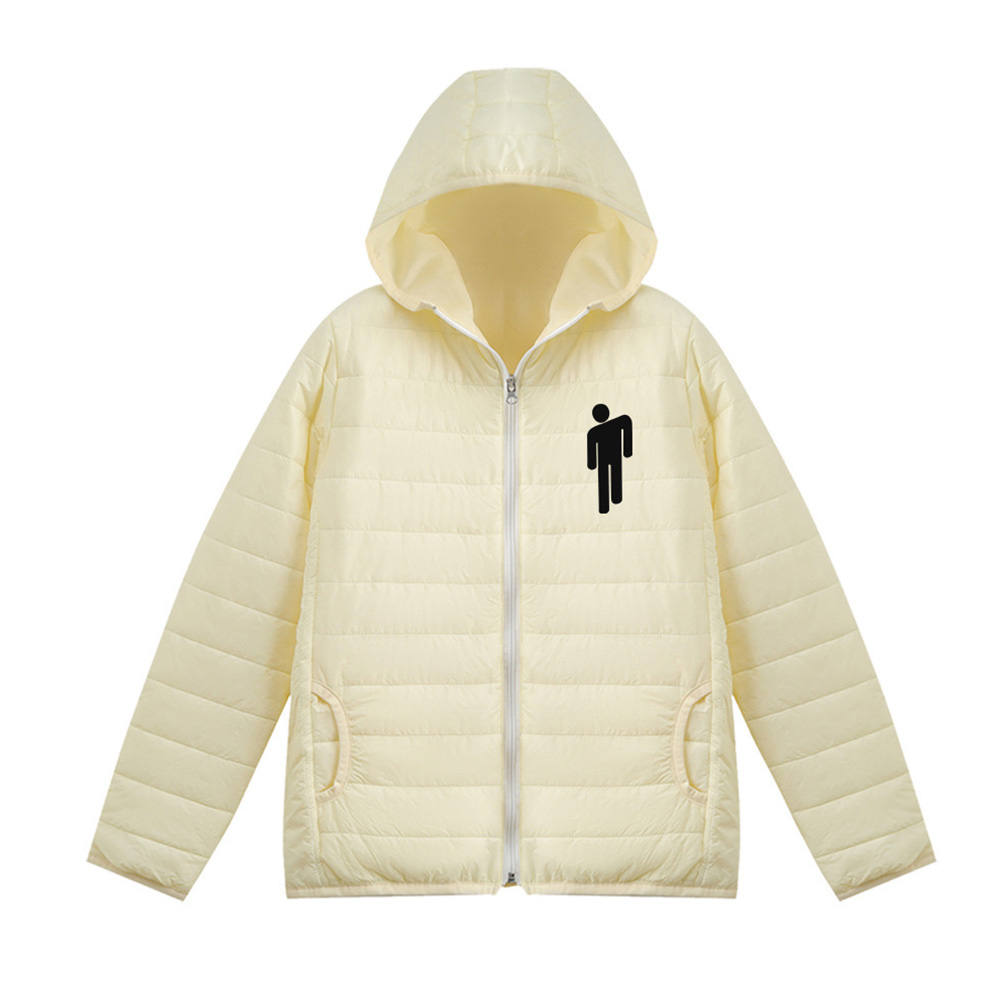 Thicken Short Padded Down Jackets Hoodie Cardigan Top Zippered Cardigan for Man and Woman White A_M