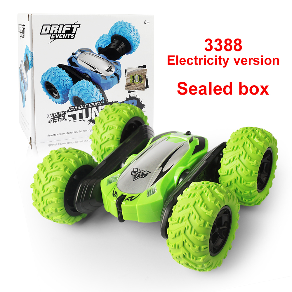 Off-road RC Car Toy Four Wheel Drive Stunt Car with Cool Lights 2.4G Stunt Double-sided Model green_Sealed box