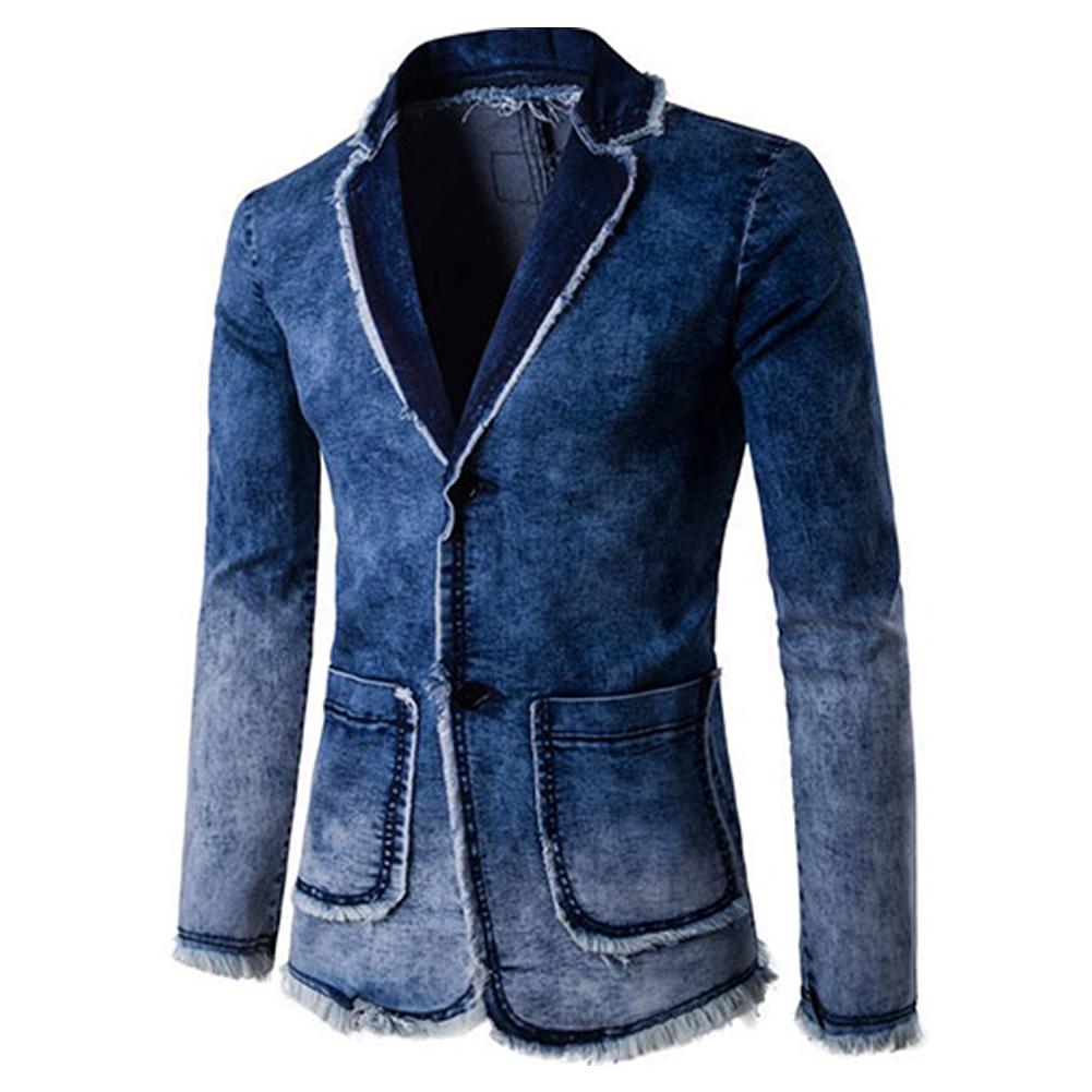 Men Fashion Spring Autumn Blue Denim Blazer Coat Top blue_XXL