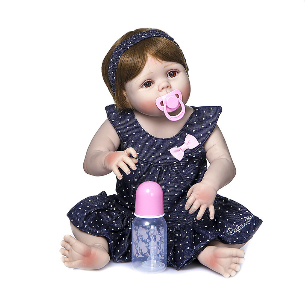 56CM Simulate Soft Silicone Doll Limb Movable Bath Toy for Baby Toddler Girl Brown eyes