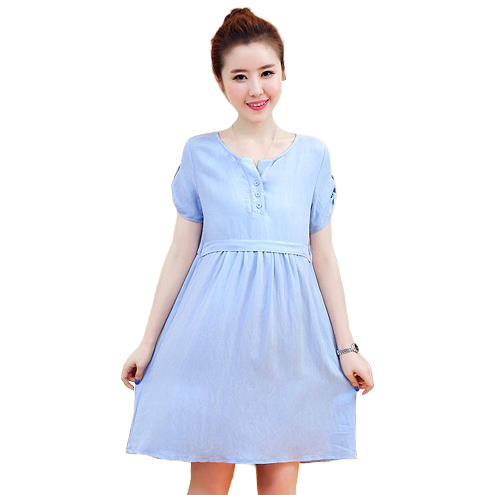 Pregnant Dress Short Sleeve Summer Cotton Linen Dress for Pregnant Woman blue_L