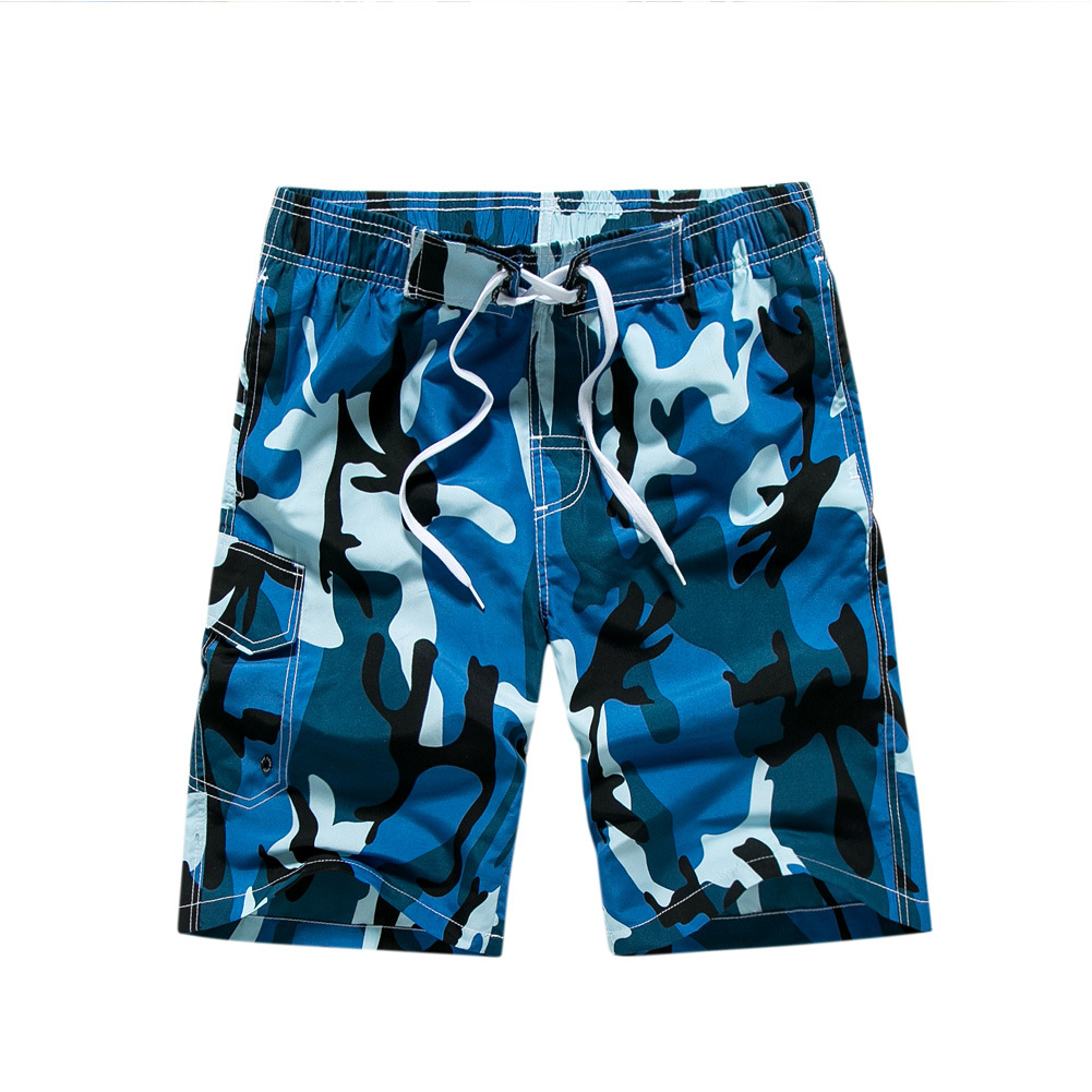 Men Fashion Summer Beach Camouflage Style Surf Baggy Shorts blue_M