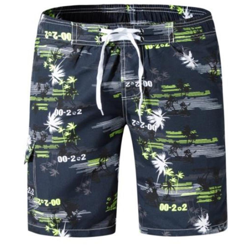 Men Summer Beach Shorts Fashion Print Quick-drying Shorts yellow_XL