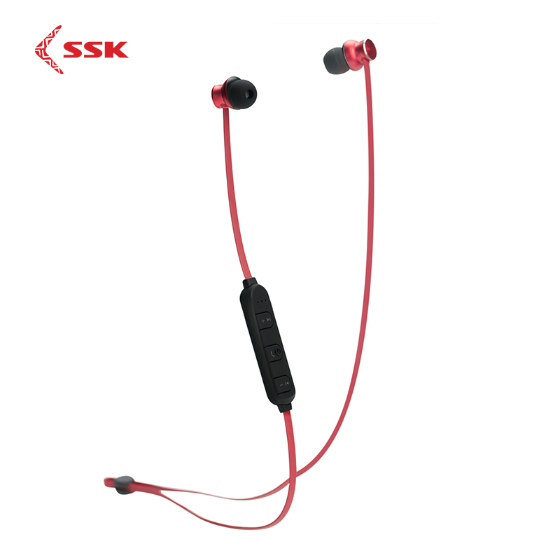 SSK BT01 Noise Cancelling Bluetooth Sports Earphone Magnetic Wireless Headset Waterproof for Mobile Phones Music CSR Chips Red
