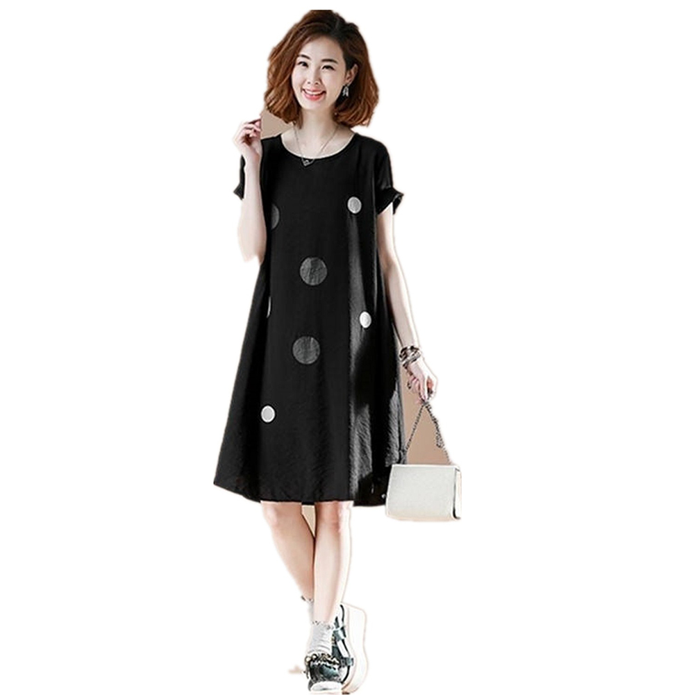 Women Large Round Neck Loose Short Sleeve Fashion Print Medium Length Dress black_M