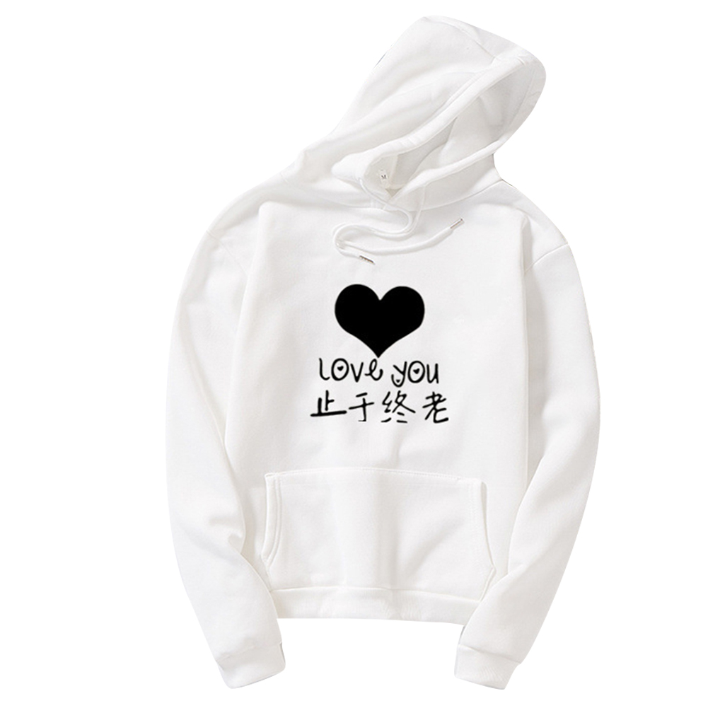 Thicken Casual Loose Printing Hooded Sweatshirts for Students Lovers Wear White_L