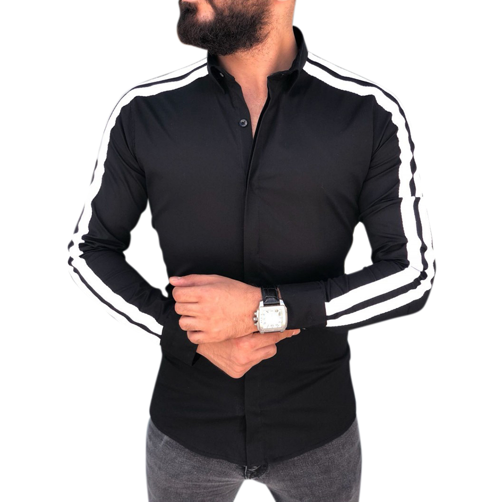 Men Stylish Casual Matching Dress Shirt Slim Fit T-Shirt Long Sleeve Formal Tops black_XL