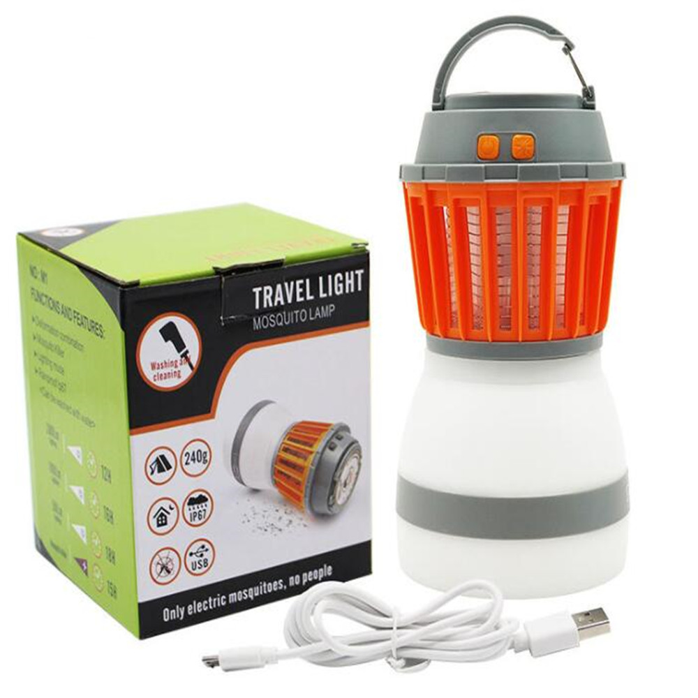 Multifunction 5V Portable 2 in 1 LED Camping Light Mosquito Killer Lamp with Solar Panel for Garden Hiking Home Use USB cable