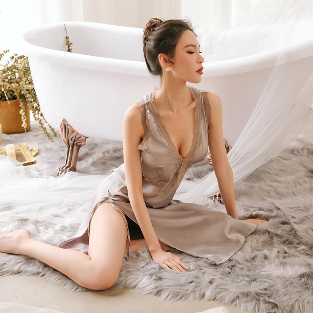Lady Lace Side Split V-neck Backless Sling Nightdress + Briefs Sexy Temptation Lingerie Underwear gray_One size