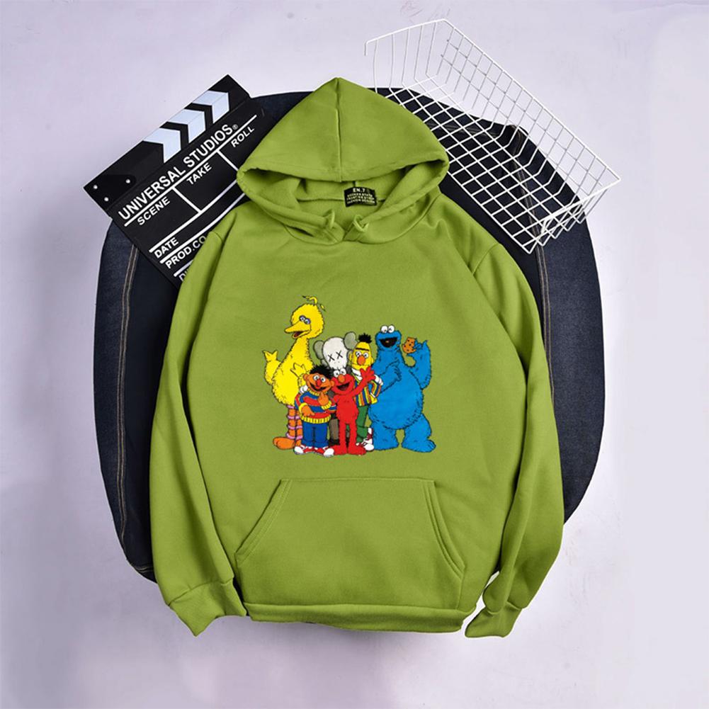 KAWS Men Women Sweatshirt Cartoon Animals Thicken Autumn Winter Loose Hoodie Pullover Green_XL
