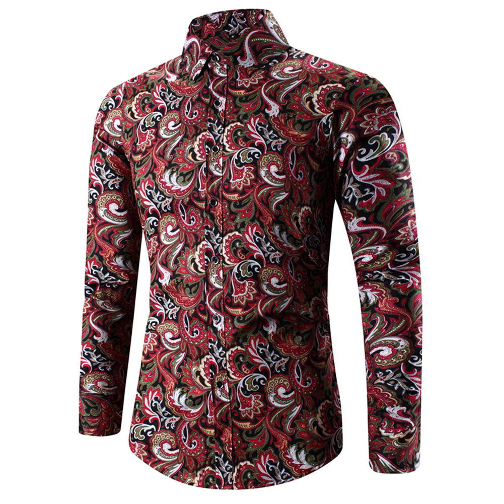 Men Spring And Autumn Simple Fashion Print Long Sleeve Shirt Tops red_XL