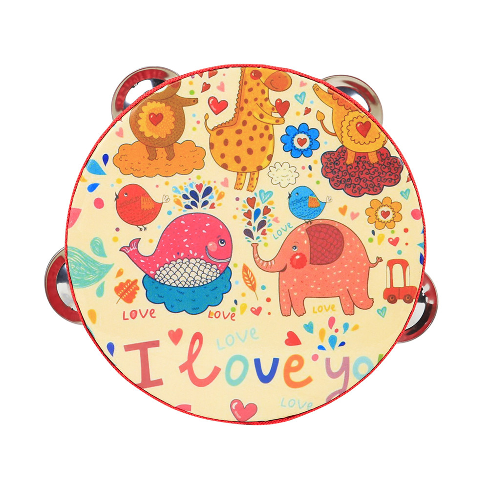 6 inch Tambourine for Children Cartoon Child-Friendly Design Popular Music Instrument for The of Rhythm and tact  Yellow Zoo