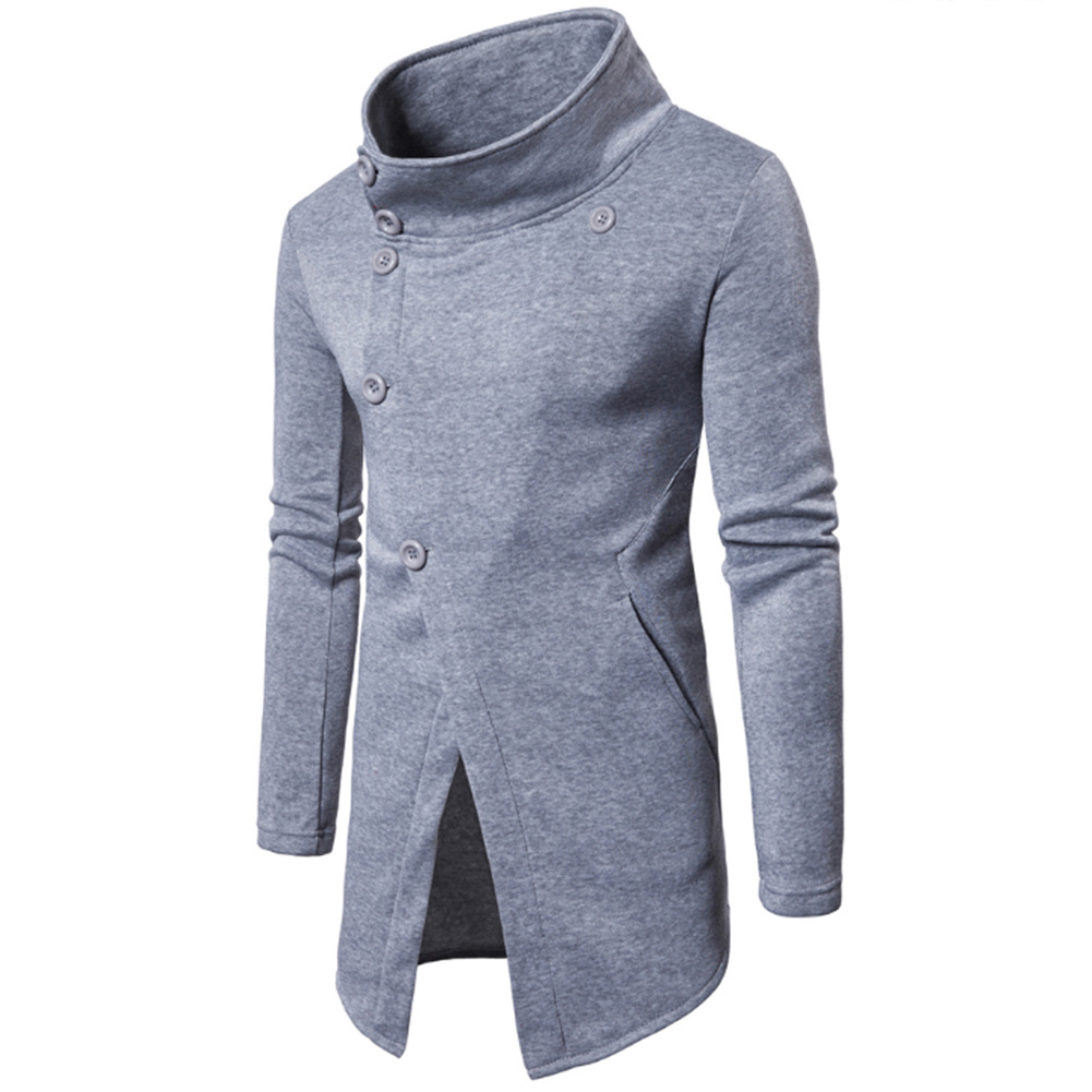 Men Fashion Slim Oblique Buttons Sweatshirts Coat light grey_XL