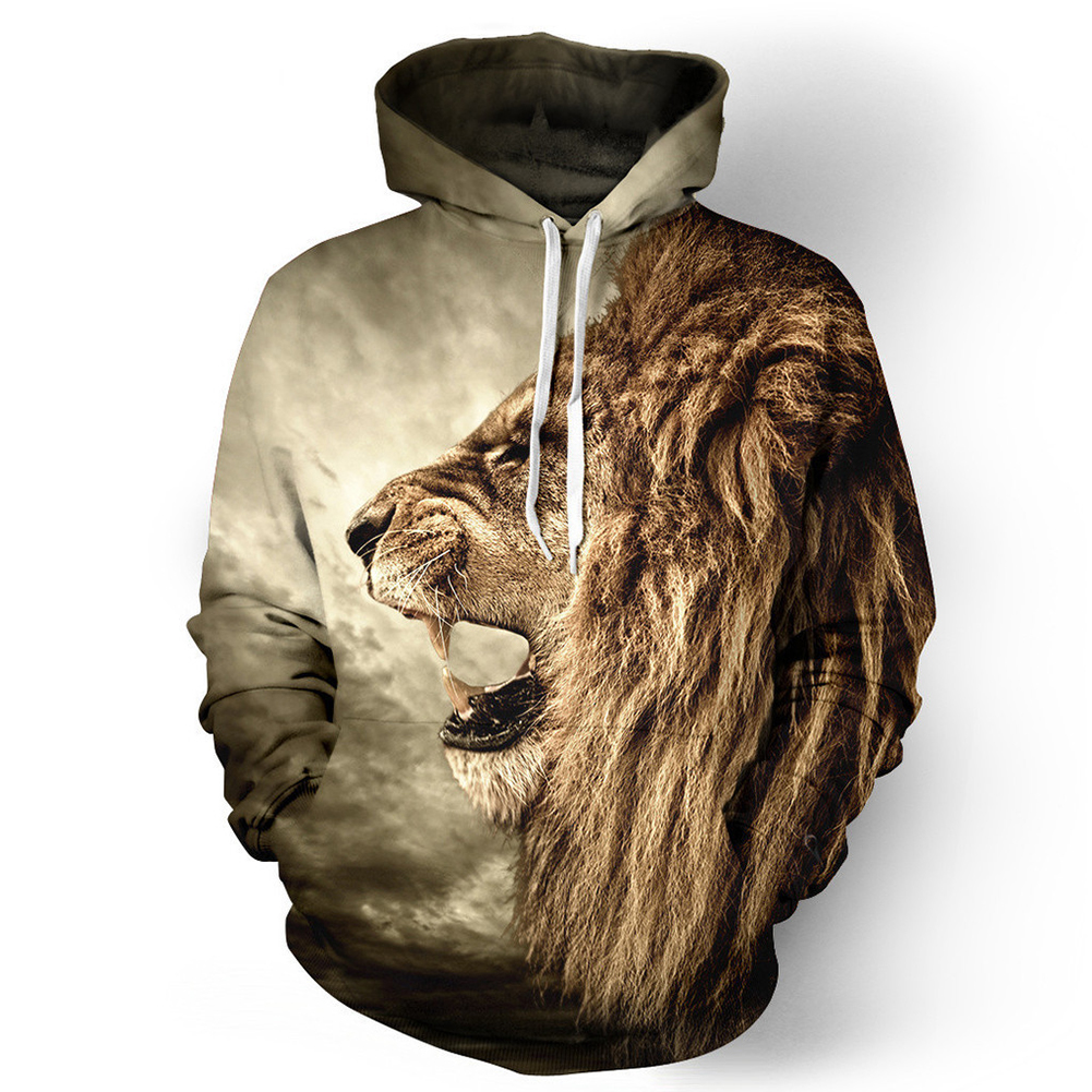 Halloween 3D Lion Printed Hoodie Cool Animal Hooded Swearshirt Men/Women Pullover Yellow lion_XXL