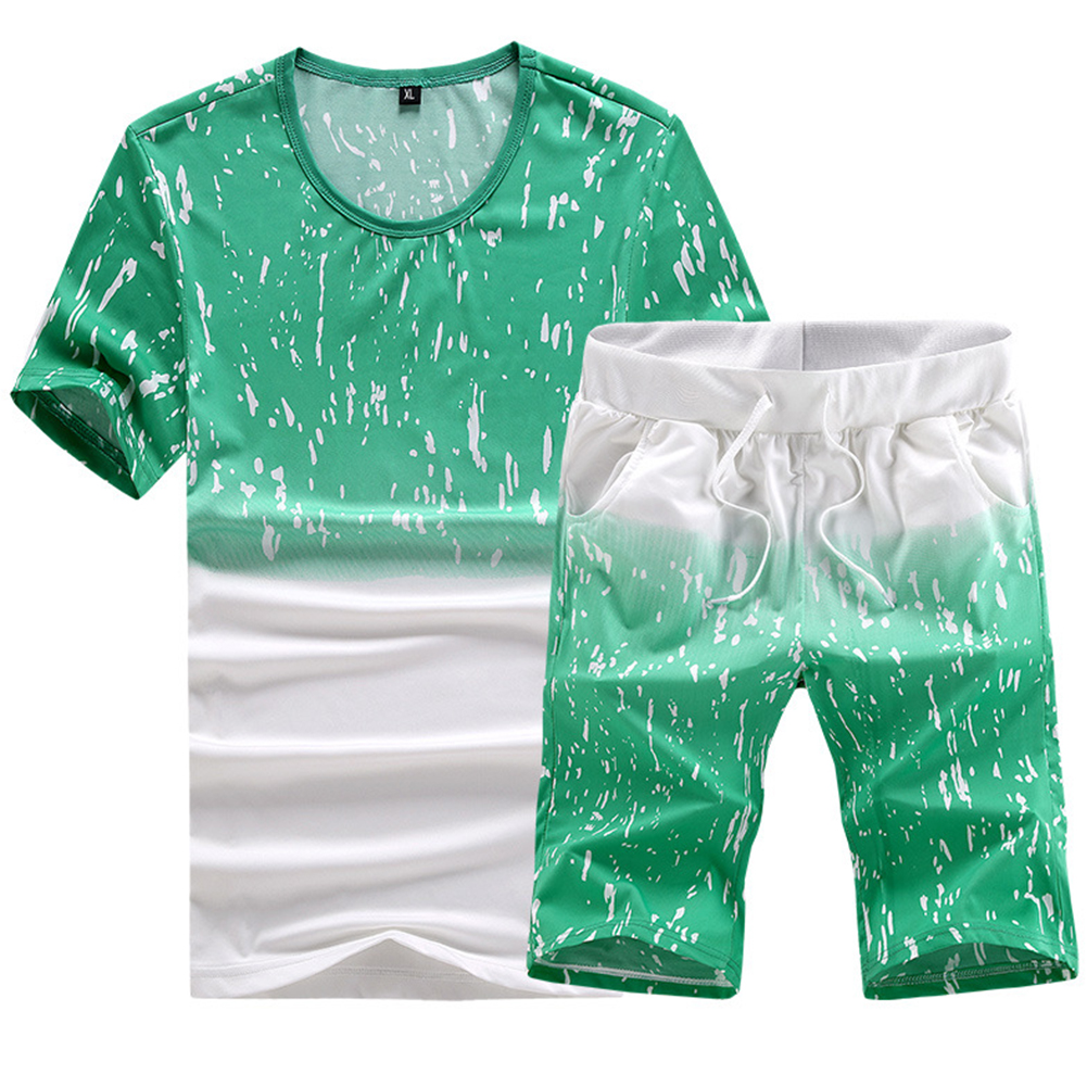Men Summer Loose Round Neck Casual Short-sleeved T-shirt Sports Suit Outfit green_L