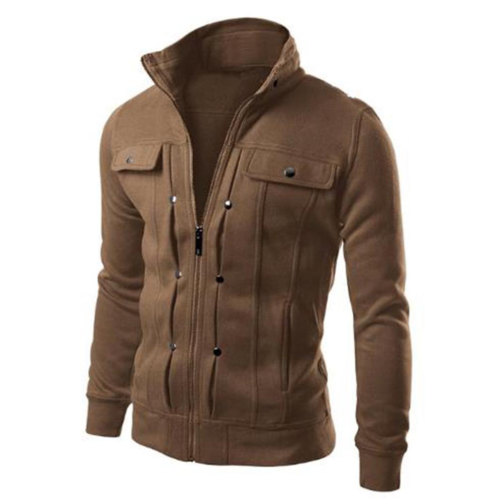Long Sleeve Jacket Men Casual Mens Jackets And Coats  Brown_3XL