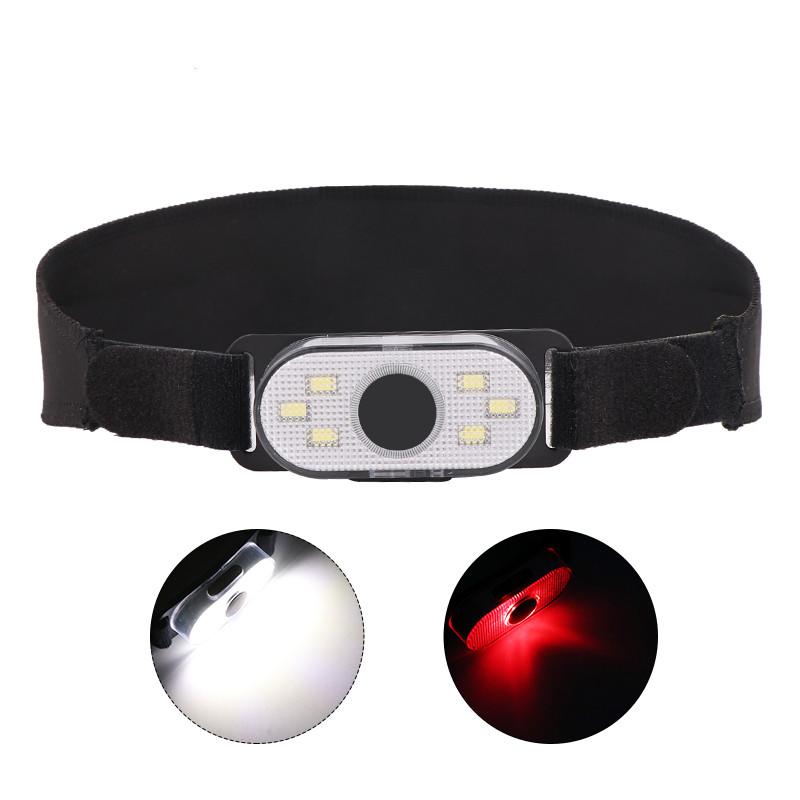 Multifunction LED COB White Light+Red Light Outdoor Sports Headlight Flashlight black_Model 2066