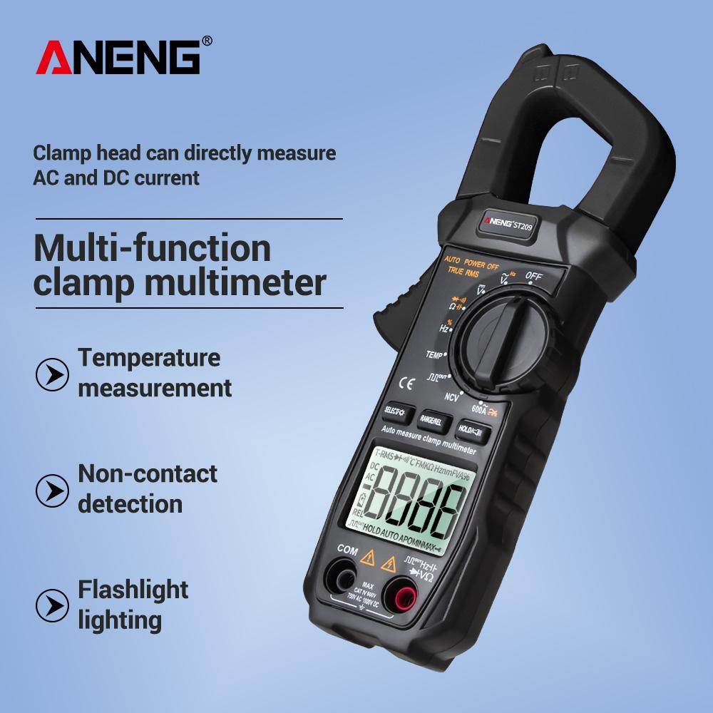 ANENG ST209 Digital Clamp Meter Multimeter 6000counts True RMS Mini Amp DC/AC Clamp Meters voltmeter 400v Automatic Range black