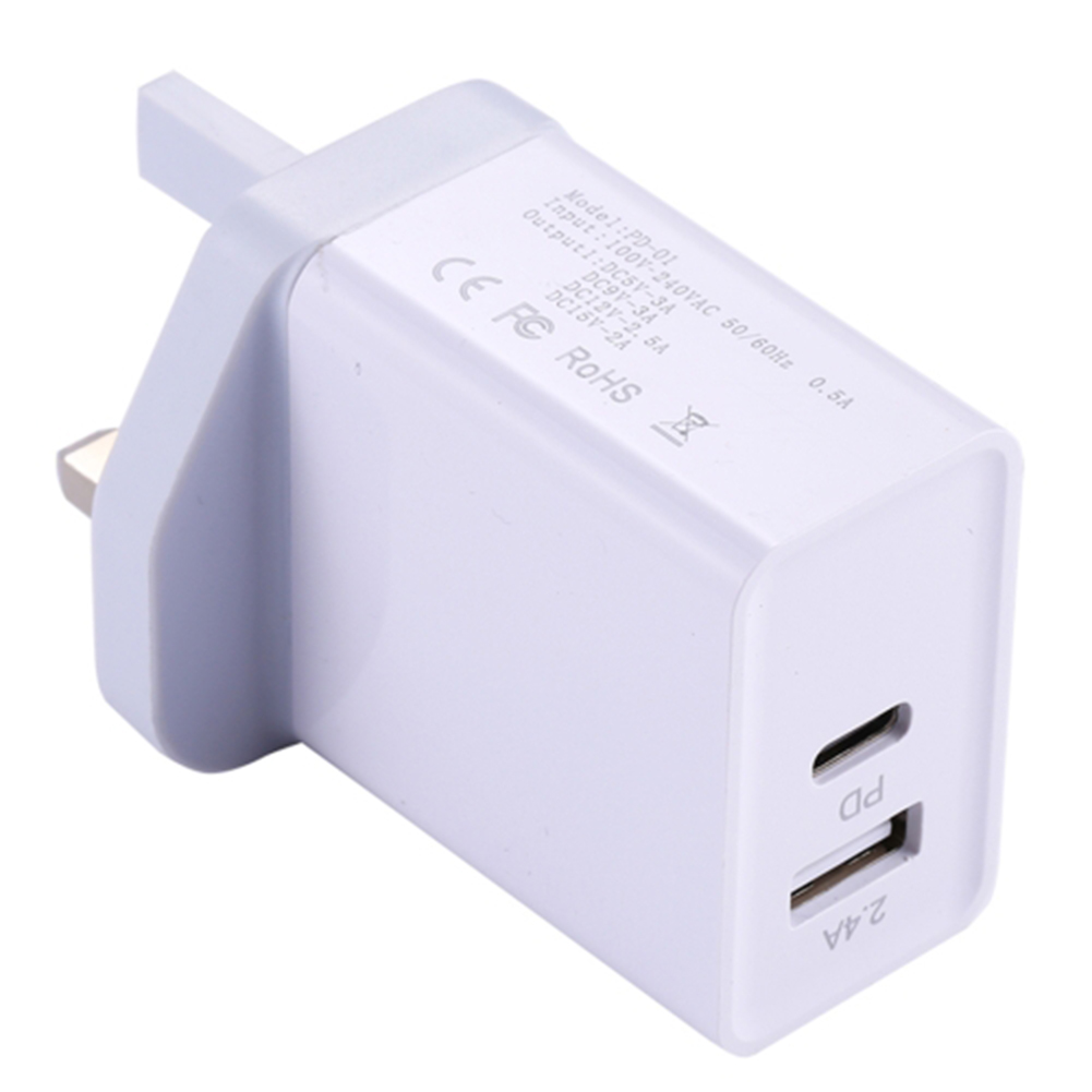 USB C PD Charger 29W Power Delivery Type c Wall Charger with 2 Ports for iPhone Android British regulations white