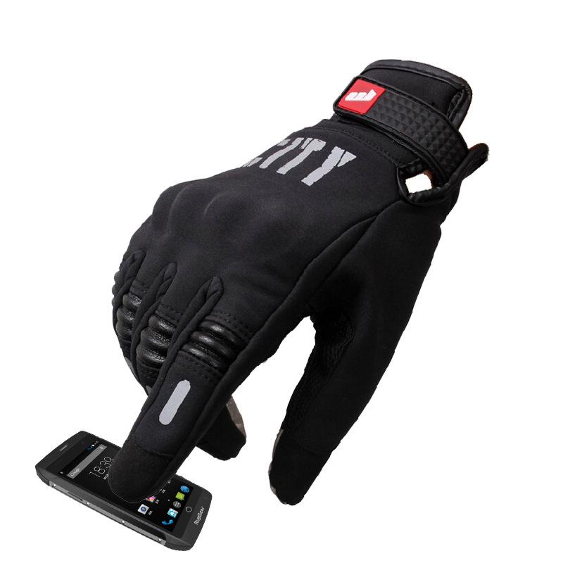 1 Pair Nylon Summer  Gloves Touch Screen Cycling Gloves Full-finger Night Reflective Gloves Summer black_l
