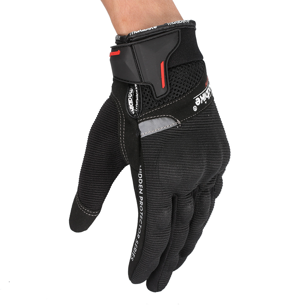 1 Pair Nylon Motorcycle Riding Racing Gloves Touch Screen Full  Finger  Gloves Breathable Gloves black_m