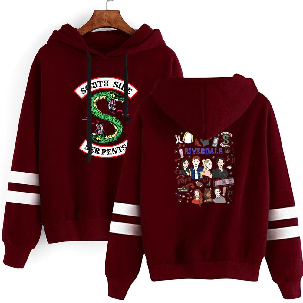 Men Women American Drama Riverdale Fleece Lined Thickening Hooded Sweater Burgundy E_L