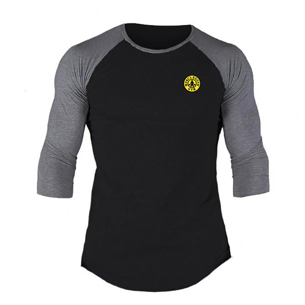 Male Casual Contrast Color Shirt Long Sleeves Top Leisure Pullover Baseball Sports Wear black_L