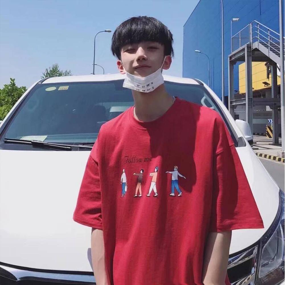 Men T-shirt Short-sleeved Top Summer Fashion Student Printing Pattern Couple Shirt Loose T-shirt Red_S