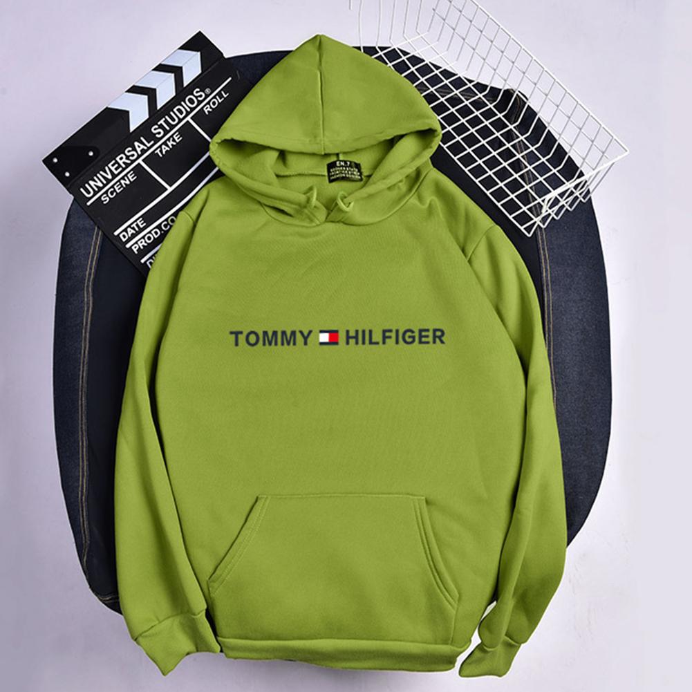 Men Women Hoodie Sweatshirt Printing Letters Thicken Velvet Loose Fashion Pullover Green_XL