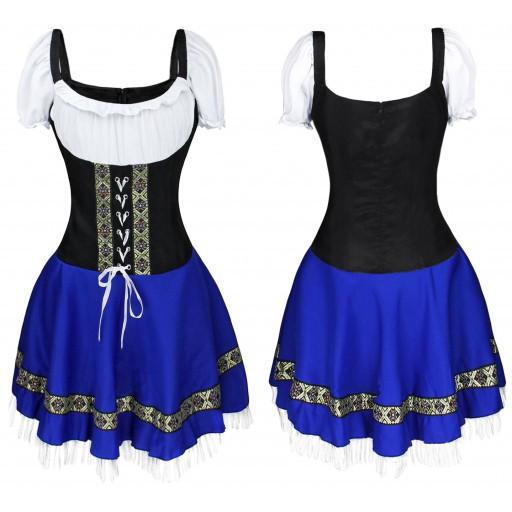 Women Girl Oktoberfest Dress Bavarian Style Costume Waitresses Uniform blue_XL