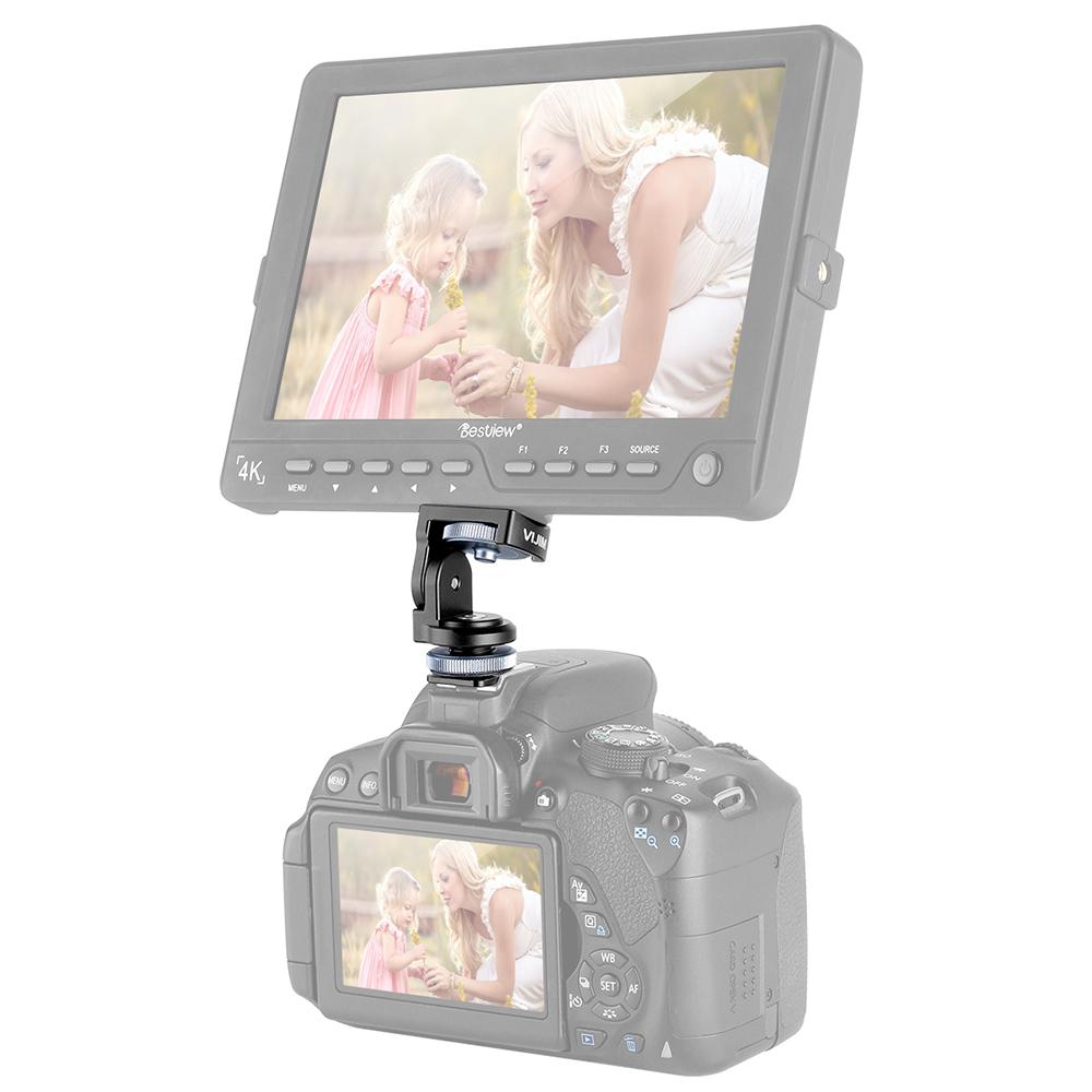 VK-2 360 Paranomic Hot Shoe Ballhead Monitor Base Mount Bracket Holder Universal for DSLR Cameras LED Video Lights black