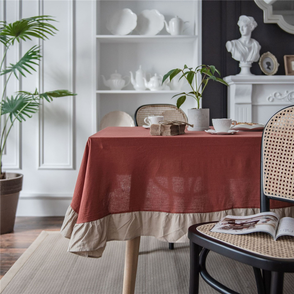 Cotton Flounce Tablecloth For Home Picnic Camping Outdoor Table Cloth Decor Orange_Round 150cm