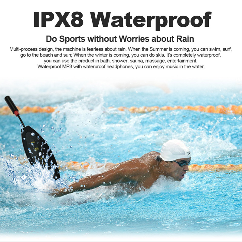 Waterproof MP3 Player - IPX8 Rating, 8GB Memeory, About 2000 Tracks, 8 Hrs Battery Life, FM Radio