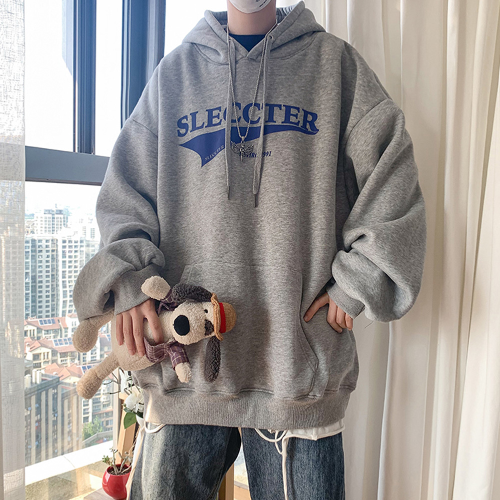 Men Women Hoodie Sweatshirt Letter Printing Fashion Loose Pullover Casual Tops Light gray_XXL