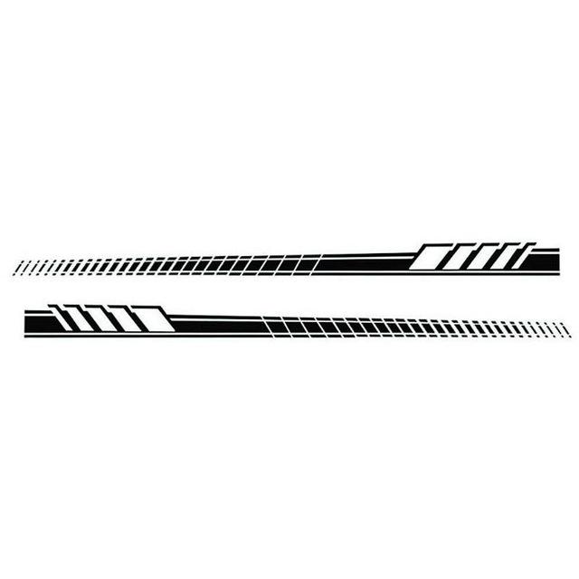 2pcs/Set Car Auto Body Stickers Long Stripe Side Skirt Decoration Vinyl Decals black