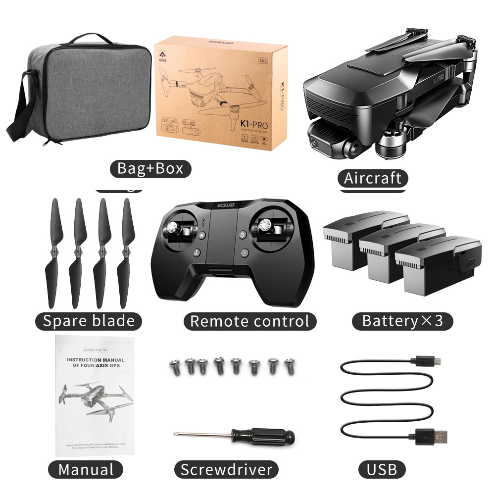 K1 Pro Gps Drone Professional 2-axis Gimbal Camera 90 Degree Adjustable Drone Kf107 Long Distance Drone Pk Sg906 Pro 3 battery