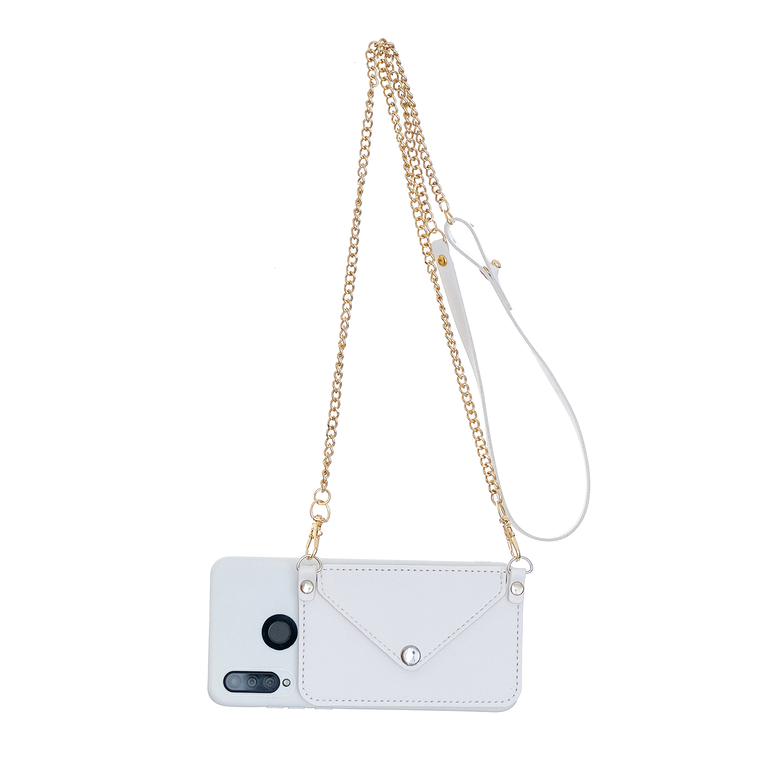 For HUAWEI P30/P30 Lite/P30 Pro Mobile Phone Cover with Pu Leather Card Holder + Hand Rope + Straddle Rope white