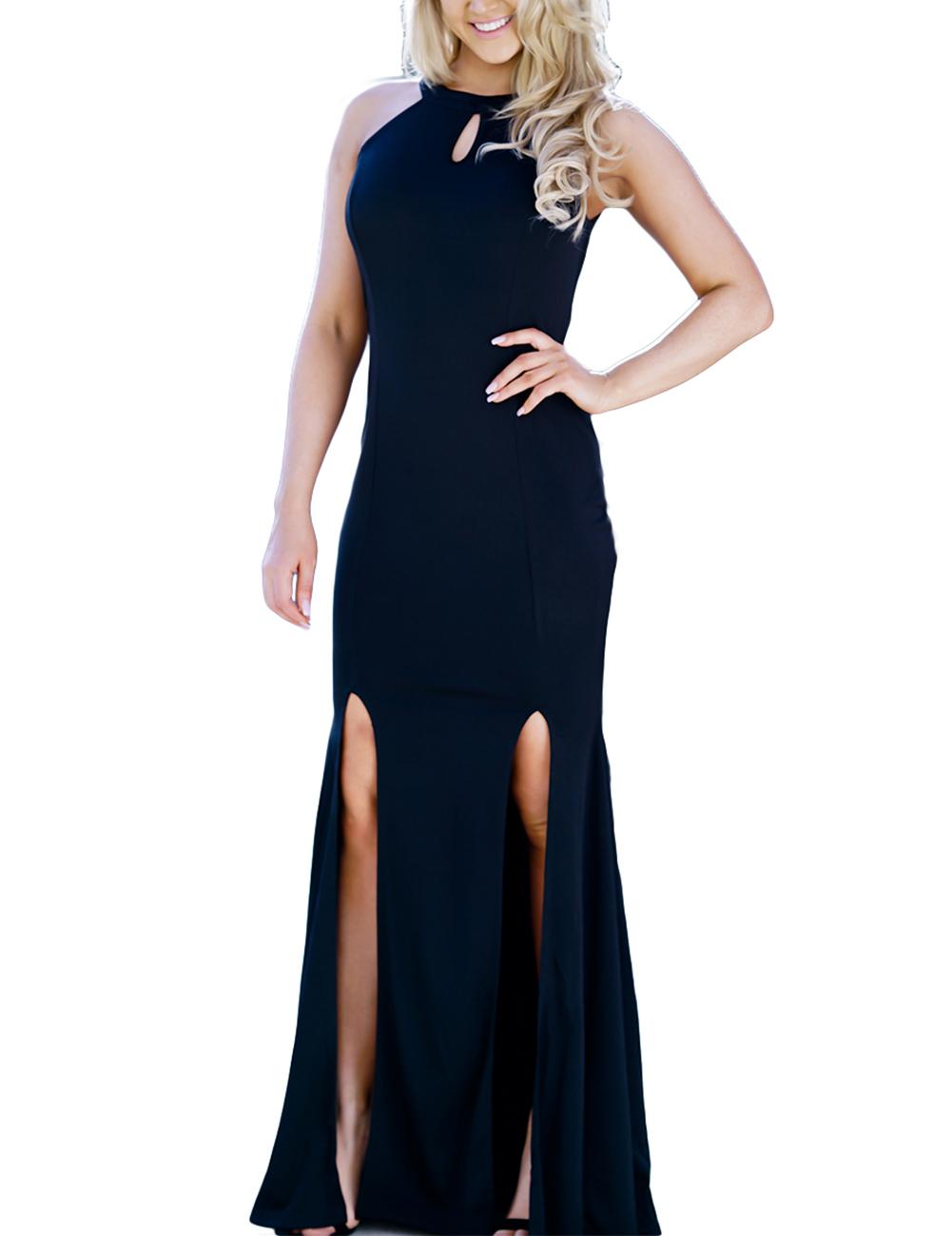 Fashionable Slit Dress Sexy Sleeveless Bare-back Skirt Gift Party Nightclub Outfits