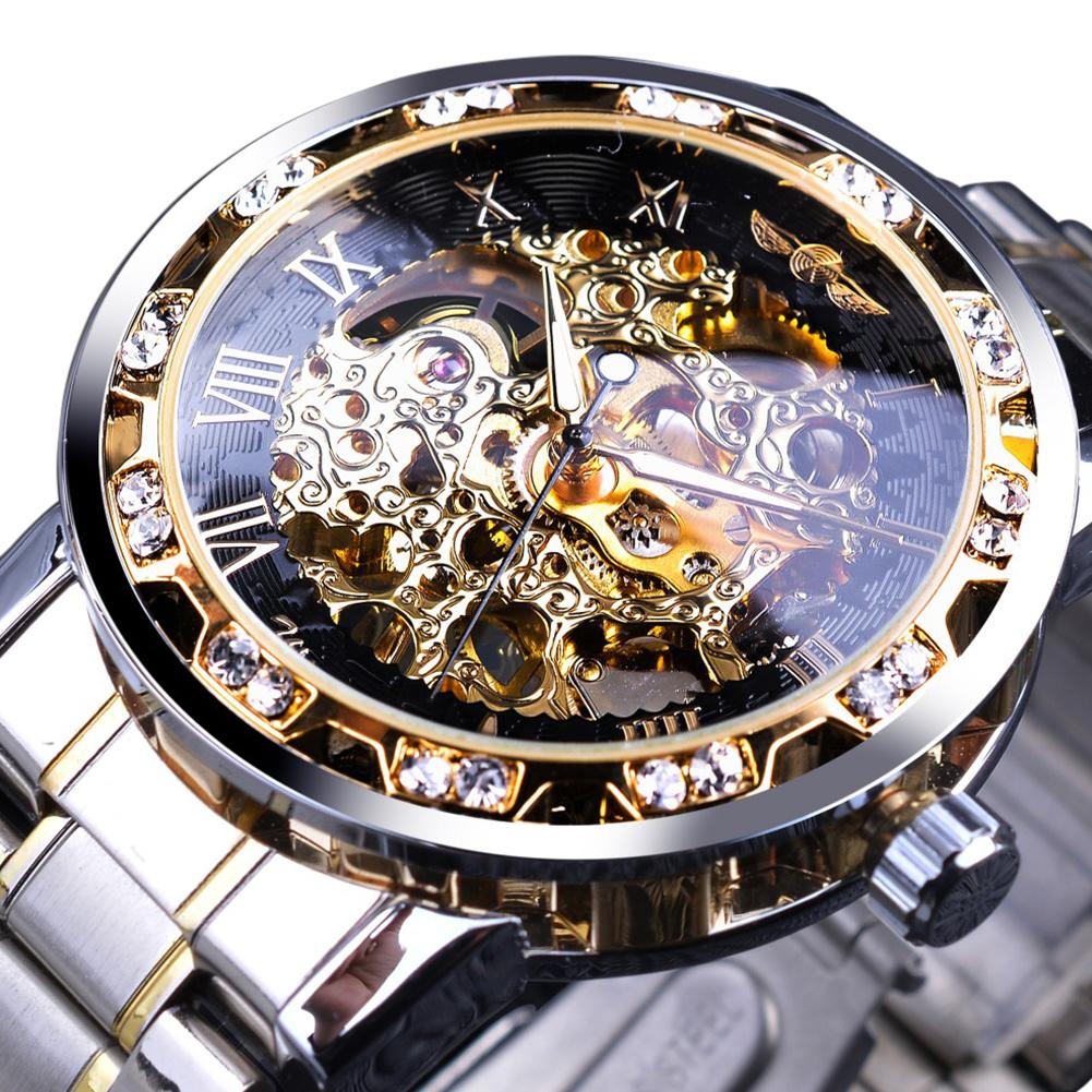 Winner Man Waterproof Mechanical Watch Roman Numeral Rhinestone Skeleton Dial Steel Wristwatch Black gold