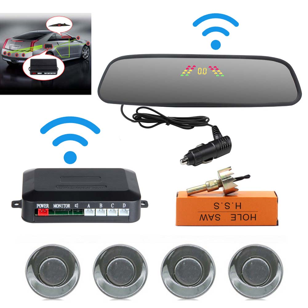 Car Reversing Parking Camera Wireless Parking Sensor Car Rear View Parking Sennor Kit Detector Led Display Automatic Auxiliary Car Parking Gray probe