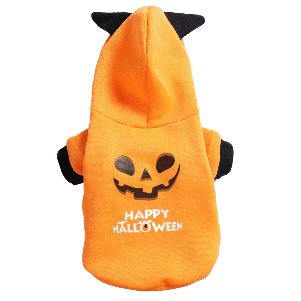 Halloween Pet Clothes Cat Dog Festival Cosplay Autumn Winter Two Legged Costume  yellow_S