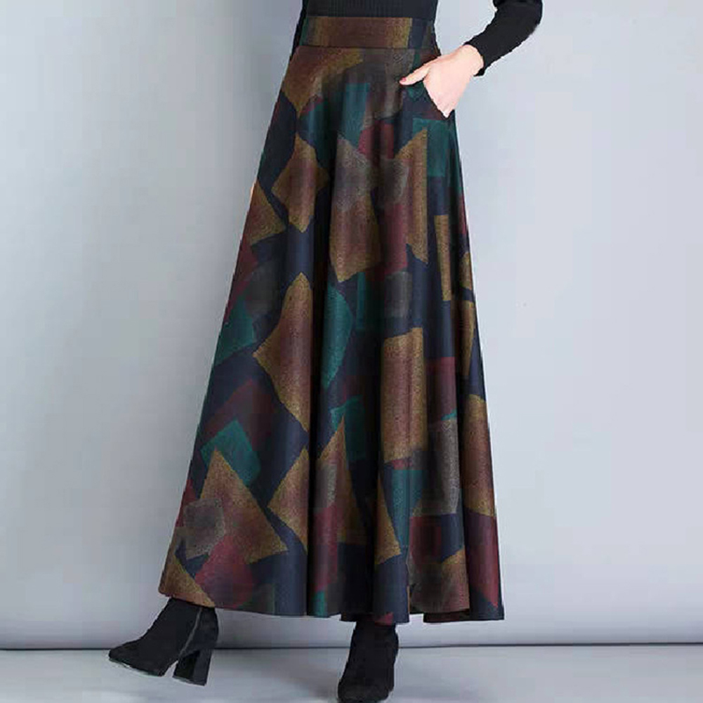 Women Lady Fashion Simple Design Autumn Winter Woolen Plaid A-line Skirt 1#_XXL