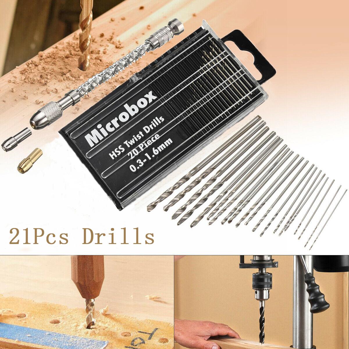 21Pcs HSS Mini Micro Spiral Hand Manual Push Drill Chuck Twist Pin Vise Bit Semi-automatic hand drill +20pc small drill