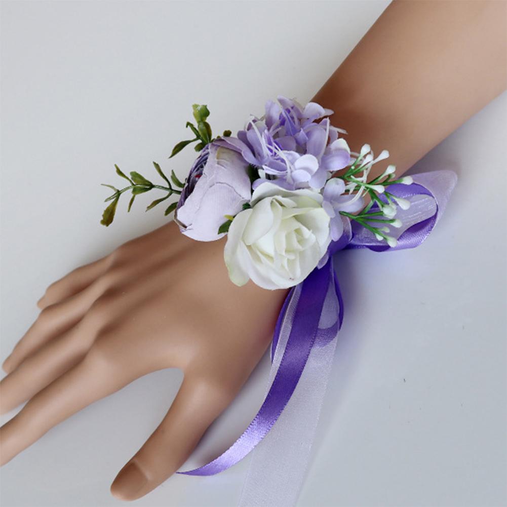 Elegant Artificial Wrist Flower /Corsage for Wedding Party Bride Bridegroom Accessories Vintage purple wrist flower