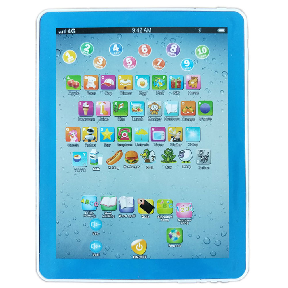 Tablet Pad Computer for Kid Children Learning English Educational Teach Toy Gift Chinese and English (blue)