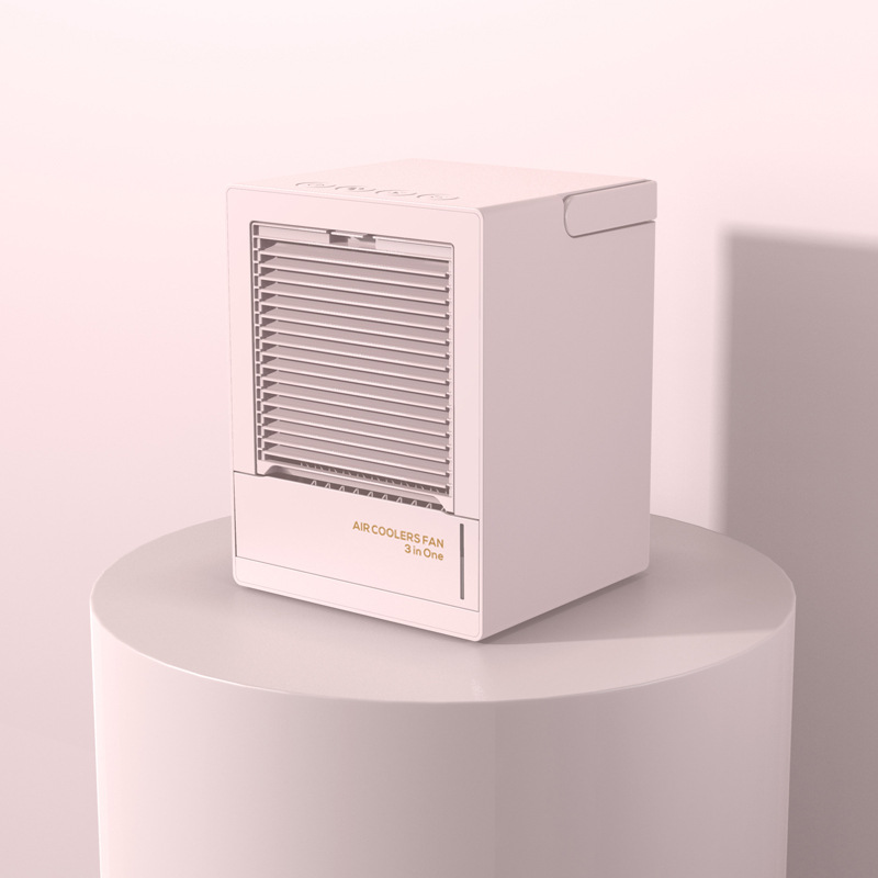 Home Automatic Shaking Air Cooler Humidifier Mute Air Conditioner Fan for Office Tabletop pink_Rechargeable