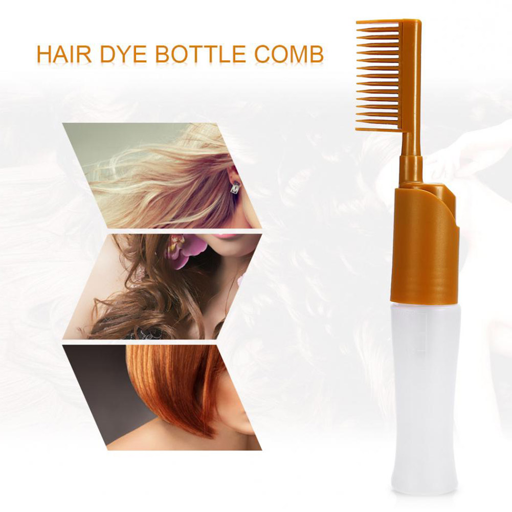 Profssional Salon Hair Dye Dispenser Bottle Comb Coloring Dyeing Bottle Comb Applicator Hair Coloring Hair Brush Styling Tool yellow